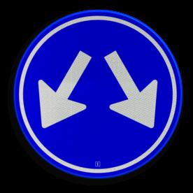 Verkeersbord Gebod voor alle bestuurders het bord voorbij te gaan aan de zijden die de pijlen aangeven Verkeersbord RVV D03 - Gebod te passeren aan 2 zijden D03 twee pijlen, rond blauw bord, bord met pijlen, D3