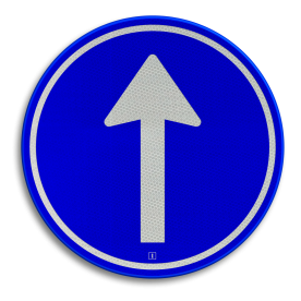 Verkeersbord Gebod tot het volgen van de rijrichting of één van de rijrichtingen die op het bord zijn aangegeven Verkeersbord RVV D04 - Verplichte rijrichting rechtdoor D04 pijlbord, pijlen, rond blauw bord, bord met pijlen, D4