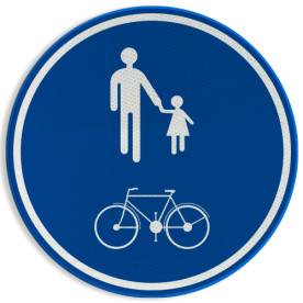 Verkeersbord D10: Deel van de openbare weg voorbehouden voor het verkeer van voetgangers en fietsers. Verkeersbord België D10 - Deel van de openbare weg voorbehouden voor het verkeer van voetgangers en fietsers. D10 Rijrichting, voetgangers, fietsers