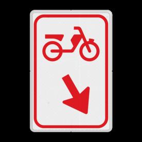 Verkeersbord bromfietsers zijn verplicht bord te passeren aan de richting die de pijl aangeeft. Van rijbaan verwisselen. Verkeersbord RVV D103 / D104 - Bromfietsers passeren D103