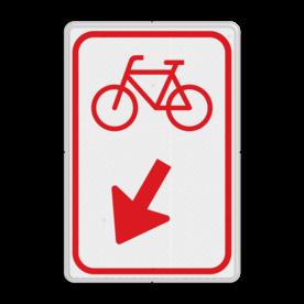 Verkeersbord Fietsers zijn verplicht bord te passeren aan de richting die de pijl aangeeft. Van rijbaan verwisselen. Verkeersbord RVV D101 / D102 - Fietsers passeren D102
