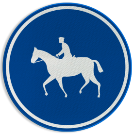 Verkeersbord D13: Verplichte weg voor ruiters Verkeersbord België D13 - Verplichte weg voor ruiters D13 ruiters, paarden, ruiterpad