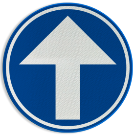 Verkeersbord D01c: Verplichting de door de pijl aangeduide richting te volgen. (hier rechtdoor) Verkeersbord België D01c - Verplichting rechtdoor D01c Rechtdoor, rijrichting, bord, D04, verplichte rijrichting