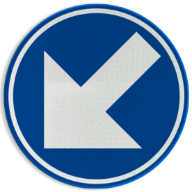 Verkeersbord D01f: Verplicht links aanhouden. Verkeersbord België D01f - Verplicht links aanhouden D01f Rijrichtingsbord, D02l, linkerbaan, links aanhouden, verplicht