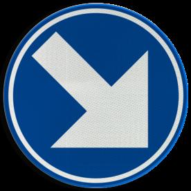 Verkeersbord D01g: Verplicht rechts aanhouden Verkeersbord België D01g - Verplicht rechts aanhouden D01g Rijrichtingsbord, D02r, rechterbaan, rechts aanhouden, verplicht