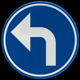 Verkeersbord D01b: Verplichting de door de pijl aangeduide richting te volgen (hier links) Verkeersbord België D01b - Verplichting de door de pijl aangeduide richting te volgen (hier links) D01b Rijrichtings bord, D05l, verplichte rijrichting