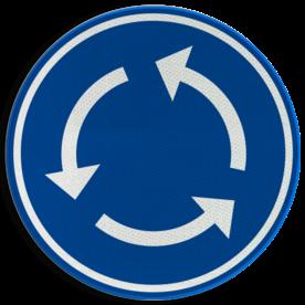Verkeersbord D05: Verplicht rondgaand verkeer Verkeersbord België D05 - Rotonde - Verplicht rondgaand verkeer D05 rotondebord, 3 pijlen, rond blauw bord, D01, rotonde