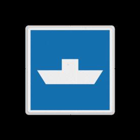 Scheepvaartbord Vrijvarende veerpont. Het teken dient als waarschuwing voor een vrijwarende pont en kan worden voorzien van een bovenbord, waarop de afstand is vermeld tussen het bord en de oversteekplaats van de veerpont. Bovenstrooms van de pont wordt bij voorkeur een groter afstand aangehouden tussen het bord en de pont dan benedenstrooms. Dit in verband met het verschil in naderingssnelheid van de schepen. Voor brede vaarwegen is plaatsing op beide oevers aan te bevelen. Scheepvaartbord BPR E. 4b - Vrijvarende veerpont E. 4b pond, pont, oversteek, schip, water, E4b, aanwijzingstekens, aanwijzingsborden, waterweg, waterwegen, scheepvaarttekens, verkeerstekens,