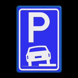 Verkeersbord Parkeerplaats op stoep - Parkeergelegenheid. Het is toegestaan om de auto in de berm te parkeren Verkeersbord RVV E08b E08b stoep, parkeerplek, parkeerplaats, auto, E8, E8b