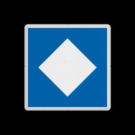 Scheepvaartbord Ligplaatsen voor niet-kegelschepen. Ligplaatsen voor het afmeren of ankeren van alle schepen, die niet verplicht zijn door de aard van de lading één of meer blauwe kegels te voeren. Scheepvaartbord BPR E. 5.12 - Ligplaatsen voor niet-kegelschepen E. 5.12 afmeren, water, E5.12, aanwijzingstekens, aanwijzingsborden, waterweg, waterwegen, scheepvaarttekens, verkeerstekens,
