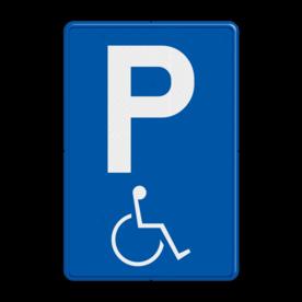 Verkeersbord E9a: Parkeren mindervaliden toegelaten. Verkeersbord België E09a - Parkeren mindervaliden toegelaten E09a