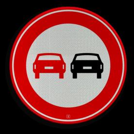Verkeersbord Verbod voor motorvoertuigen om elkaar onderling in te halen Verkeersbord RVV F01 - Voertuigen - verboden in te halen F01 verboden in te halen, niet inhalen, auto's, verbodsbord, F1