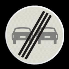 Verkeersbord Einde verbod voor motorvoertuigen om elkaar onderling in te hale Verkeersbord RVV F02 - Einde inhaalverbod voertuigen F02 verboden in te halen, einde, auto's, niet inhalen, vebodsbord, F2