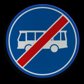 Verkeersbord ** NIEUW RVV - GELDIG vanaf 01-01-2017 ** Einde rijbaan of rijstrook uitsluitend ten behoeve van lijnbussen. Verkeersbord RVV F14 - Einde rijbaan of -strook bussen F14 nieuw, bus