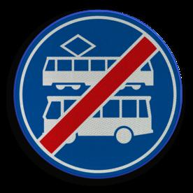 Verkeersbord ** NIEUW RVV - GELDIG vanaf 01-01-2017 ** Einde rijbaan of rijstrook uitsluitend ten behoeve van lijnbussen en trams. Verkeersbord RVV F18 - Einde rijbaan of -strook bus en tram F18 nieuw, tram, bus