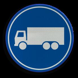 Verkeersbord ** NIEUW RVV - GELDIG vanaf 01-01-2017 ** Rijbaan of rijstrook uitsluitend ten behoeve van vrachtverkeer. Verkeersbord RVV F21 - Rijbaan of -strook vrachtverkeer F21 nieuw, vrachtauto