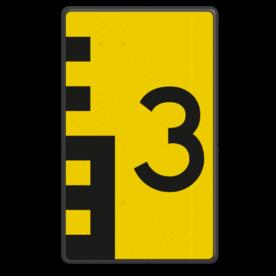 Scheepvaartbord Hoogteaanduiding rechts van de vaarweg. Een hoogteschaal met onderverdeling wordt toegepast wanneer een zekere nauwkeurigheid van aflezing mogelijk en verreist is. Een hoogteschaal plaatst men in principe aan de vanaf een naderend schip gezien stuurboordzijde van de doorvaartopening. Scheepvaartbord BPR G. 5.1 - 600x1000mm - Hoogteschaal zwart/geel G. 5.1 water, brug, hoogte, waterweg, waterwegen, scheepvaarttekens, verkeerstekens,
