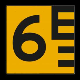 Scheepvaartbord Hoogteaanduiding links van de vaarweg. Een hoogteschaal met onderverdeling wordt toegepast wanneer een zekere nauwkeurigheid van aflezing mogelijk en vereist is. Een hoogteschaal plaatst men in principe aan de van een naderend schip gezien stuurboordzijde van de doorvaartopening. Scheepvaartbord BPR G. 5.1 - 1000x1000mm - Hoogteschaal geel/zwart links G. 5.1 water, hoogte, tekens aan kunstwerken, brug, waterweg, waterwegen, scheepvaarttekens, verkeerstekens,