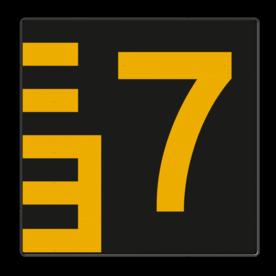 Scheepvaartbord Hoogteaanduiding rechts van de vaarweg. Een hoogteschaal met onderverdeling wordt toegepast wanneer een zekere nauwkeurigheid van aflezing mogelijk en vereist is. Een hoogteschaal plaatst men in principe aan de van een naderend schip gezien Scheepvaartbord BPR G. 5.1 Hoogteschaal - zwart/geel rechts G. 5.1 water, brug, hoogte, waterweg, waterwegen, scheepvaarttekens, verkeerstekens