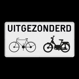 Verkeers-onderbord - Uitgezonderd (brom)fietsers wit bord, fiets, brommer, uitgezonderd, uitzondering, OB54