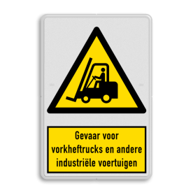 Waarschuwingsbord W014 - Gevaar voor vorkheftrucks en andere industriële voertuigen Waarschuwingsbord W014 - Gevaar industriële voertuigen zoals heftrucks veiligheidsbord, waarschuwing, nen, iso, richtlijnen, heftruck, gevaar, industrie, voertuigen