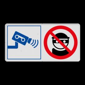Veiligheidsbord met instructies | 2 symbolen liggend Wit, (RAL 9016 - wit), PAS OP!, Terrein betreden op eigen risico, Verboden toegang Art 461, , W002 - Gevaar voor explosieve stoffen, P003 - Vuur, open vlam en roken verboden, M003 - boef, crimineel, stelen, camera, video, dief, verboden