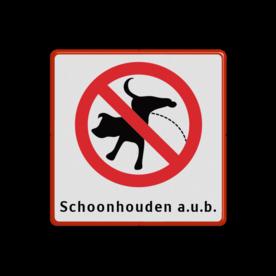 Informatiebord verboden hondente laten plassen 300x300mm + txt Fluor geel / rode rand, (RAL 3020 - rood), Verboden - Honden uit te laten, Artikel 4.80.2 A.p.v., hondenborden, hondenverbod