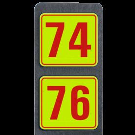 Huisnummerpaal met 2 borden fluorescerend + reflecterend 119x109mm buitengebied, huisnummer, nummer, huis, buiten, gebied, paal, Modern, huisnummerbord, Dubbel, Fluor, Huisnummerpaal, Huisnummerpalen