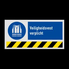 Gebodsbord M015 - Veiligheidsvest verplicht (PBM) + vaste tekst Dragen, vast, veiligheid, verplicht, M015, G38, PBM, symbool, pictogram, bord