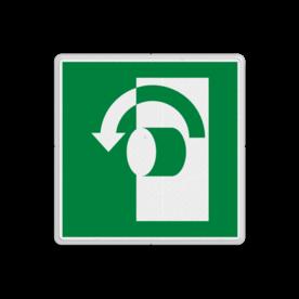 Product E018 - Draai linksom om te openen Vluchtroute bordje E018 - Draai linksom om te openen links, schakelen, tegen wijzerzin draaien, omdraaien, vluchtroutebord, reddingsmiddelbord, vluchtroutebord, reddingsmiddelbord, evacuatie, evacuatiebord, veiligheidspictogram, veiligheidsbord, Nooduitgang pictogrammen, Vluchtrouteaanduiding, Verzamelplaats pictogram, Reddingspictogram, nooduitgang symbool, teken, icoon, symbolen, reddingsborden, bhv bord