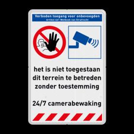 Veiligheidsbord Verboden toegang onbevoegden + camerabewaking 24/7 Veiligheidsbord - geen toegang onbevoegden + camerabewaking Informatie, veiligheid, bord, geen, toegang, verboden, onbevoegden, camera, video, bewaking, art, 461, 24/7