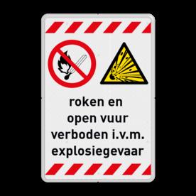 Veiligheidsbord - Roken en open vuur verboden explosiegevaar Informatie, veiligheid, bord, roken, open, vuur, verboden, explosie, gevaar