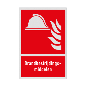 Product F004 - Brandbestrijdingsmiddelen Brand bord F004 - Brandbestrijdingsmiddelen Veiligheidsbord, vlak, dor, redding, brand, bestrijding, middelen, vuur, rook, gevaar, reflecterend, helm, vlammen