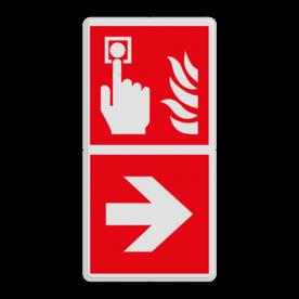 Product F005 - Brandmelder Brand bord F005 - Brandmelder met pijl Brandalarm - knop, Rechts, brandknop, alarmknop, brandmelder