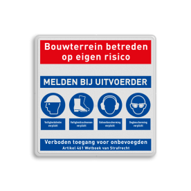 Veiligheidsbord met instructies | 5 regels / 4 symbolen Wit, (RAL 9016 - wit), PAS OP!, Terrein betreden op eigen risico, Verboden toegang Art 461, , W002 - Gevaar voor explosieve stoffen, P003 - Vuur, open vlam en roken verboden, M003 - Gehoorbescherming, verplicht, helm, oogbescherming, laarzen, dichte, schoenen