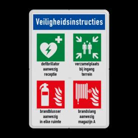 Veiligheidsbord met instructies   1 regel / 4 symbolen met vrij invoerbare tekst Wit, (RAL 9016 - wit), PAS OP!, Terrein betreden op eigen risico, Verboden toegang Art 461, , W002 - Gevaar voor explosieve stoffen, P003 - Vuur, open vlam en roken verboden, M003 - Gehoorbescherming verplicht, beveiliging, camera, video, bewaking, protection