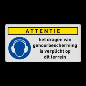 Gebodsbord M003 - Dragen gehoorbescherming verplicht (PBM) + eigen tekst M003 Dragen, gehoor, veiligheid, verplicht, bescherming, M003, G05. PBM, gebod