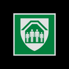 Product Schuilplaats Pictogram E021 - Schuilplaats E021 Schuilen, schuilplek, Shelter, onderduiken, veilige plek, , vluchtroutebord, reddingsmiddelbord, evacuatie, evaluatiebord