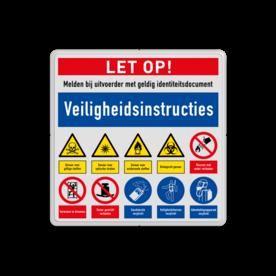 Veiligheidsbord met instructies | 4 regels / 10 symbolen Wit, (RAL 9016 - wit), PAS OP!, Terrein betreden op eigen risico, Verboden toegang Art 461, , W002 - Gevaar voor explosieve stoffen, P003 - Vuur, open vlam en roken verboden, M003 - Gehoorbescherming verplicht