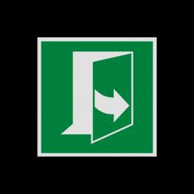 Product Deur opent door links te trekken Pictogram E057 - Deur opent door links te trekken E057 links, schakelen, tegen wijzerzin draaien, omdraaien, vluchtroutebord, reddingsmiddelbord, evacuatie, evaluatiebord