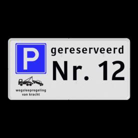 Parkeerplaatsbord Gereserveerd voor bezoekers of kenteken ( vul uw eigen tekst in onder het woordje gereserveerd ) Parkeerplaatsbord E04 + wegsleepregeling + eigen tekst parkeerbord, stalen paal, robuust, hufterproof, sterk, gereserveerd, eigen tekst, E4