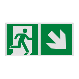 Product Nooduitgang rechts trap naar beneden Pictogram E002 - Nooduitgang rechts trap naar beneden E002 Nooduitgang, vluchtroute, route, deur, rechts, vluchtroutebord, reddingsmiddelbord, evacuatie, evaluatiebord