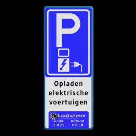 Verkeersbord parkeren elektrische voertuigen + Tarieven - BE04f BE04ft E08o - oplaadpunt -, Opladen, elektrische, voertuigen, Pijlen links - rechts - omlaag, Parkeerbord, parkeerplaats, eigen plaats, parkeren, RVV E04, p bord, BW101 SP19 - autolaadpunt, autolaadpunt, oplaadpalen, oplaadpaal, BE04, elektrisch, Opladen, Laadpaal