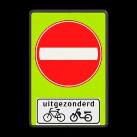 Verkeersbord Eenrichtingsweg, in deze richting gesloten voor voertuigen, ruiters en geleiders van rij- of trekdieren of vee. uitgezonderd fietsers en bromfietsers Verkeersbord RVV C02 - OB54 - Eenrichtingsweg met uitzondering - fluor achtergrond C02-OB54f Fluor geel-groen / zwarte rand, (RAL 9005 - zwart), C02, Onderbord OB 54 - uitgezonderd (brom)fietsers