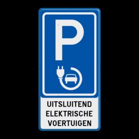 Verkeersbord België - Parkeren elektrisch opladen parkeren, bezoekers, auto's, bedrijven, bedrijf, prive, eigen, terrein, verkeersbord, reflecterend, elektrisch, opladen, voertuigen