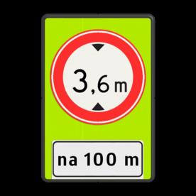 Verkeersbord Na (afstand) meter gesloten voor voertuigen en samenstellingen van voertuigen die, met inbegrip van de lading, hoger zijn dan op het bord is aangegeven Verkeersbord RVV C19f - OB401-xxx - Gesloten voor te hoge voertuigen + afstand - fluor achtergrond - BT25a C19-OB401f C19-vrij invoerbaar, Onderbord OB401 - afstand invoeren, Doorrijhoogte, Hoogte, portaal, Doorrijhoogteportaal, Hoogtebegrenzer, Portaalligger, verbodsbord,  verboden, hoogteborden, doorrijhoogte, C19, BT25,