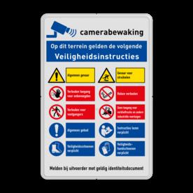 Veiligheidsbord met instructies | 5 regels / 10 symbolen Wit, (RAL 9016 - wit), PAS OP!, Terrein betreden op eigen risico, Verboden toegang Art 461, , W002 - Gevaar voor explosieve stoffen, P003 - Vuur, open vlam en roken verboden, M003 - Gehoorbescherming verplicht