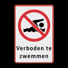 Informatiebord Hier is zwemmen verboden Informatiebord - Zwemverbod + tekst Zwemmen, duiken, Verboden, Haven