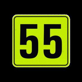 Huisnummerbord Huisnummerbord LOS Huisnummerbord fluorescerend + reflecterend 119x109mm Huisnummerbord, huisnummer, 119x109, Modern, Modern lettertype, Fluor