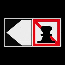 Scheepvaartbord Verboden ligplaats te nemen (ankeren en meren) aan de zijde van de pijl + richtingaanduiding met zijborden. Zijborden of puntborden worden links of rechts aan een hoofdteken toegevoegd. Scheepvaartbord BPR A. 7 + F.2a - Verboden ligplaats te nemen (ankeren en meren) aan de zijde van de pijl aanmeren, schip, A7, aanleggen, F2a, verbodstekens, verbodsborden, waterweg, waterwegen, scheepvaarttekens, verkeerstekens, richting